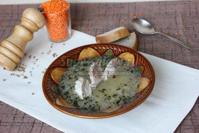 сырный суп с чечевицей
