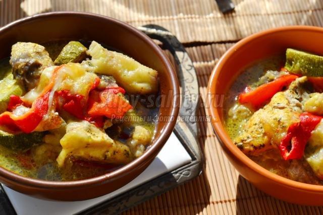 куриное филе с овощами и сыром моцарелла