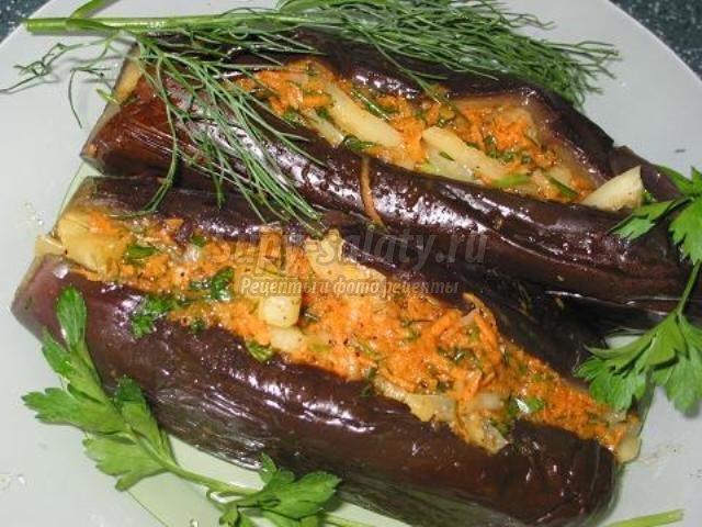 рецепт маринованных баклажан фаршированных морковью