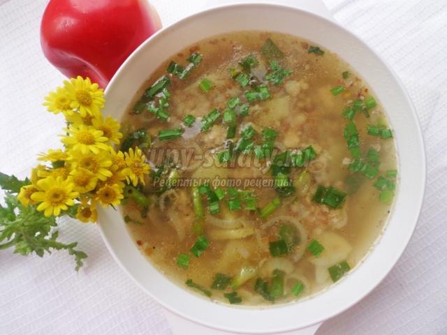 гречневый суп со свиным фаршем