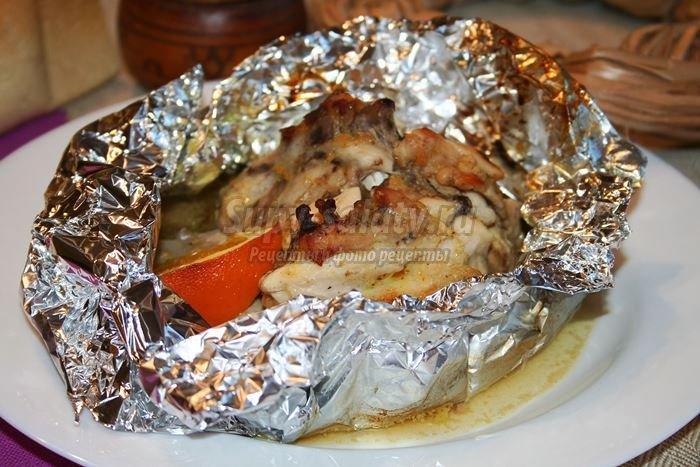 Курица в фольге запечная с карри в горчичном соусе