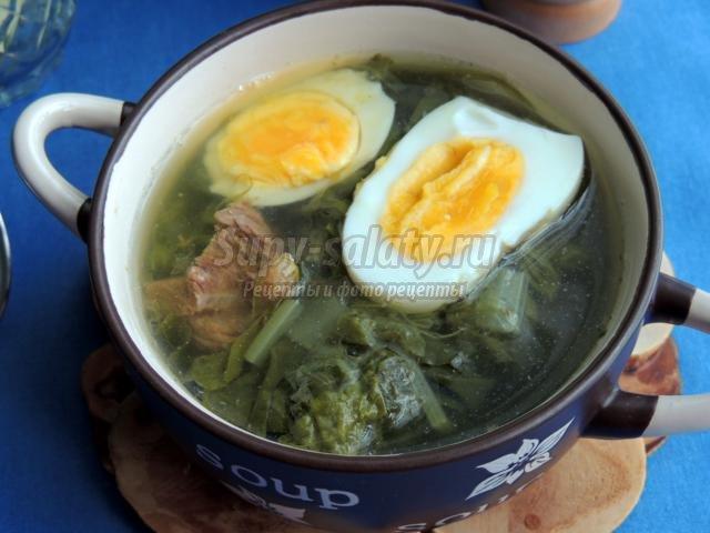 зеленый суп с говядиной