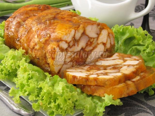 Мраморный рулет из курицы в духовке рецепт пошагово