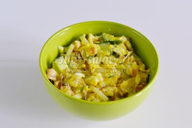Салат гнездо глухаря пошаговый рецепт с копченой курицей