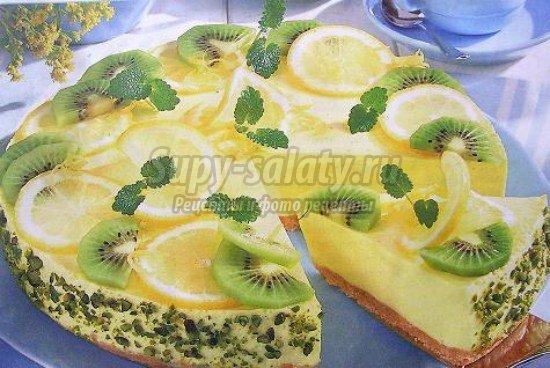 желейный торт с бананом и киви