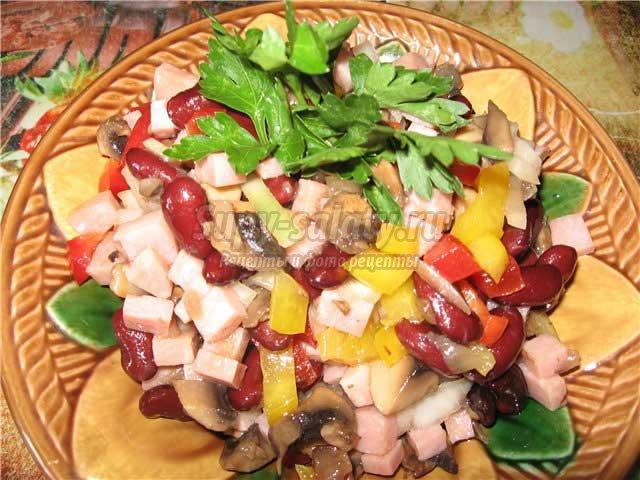 Салаты с грибами и фасолью консервированной