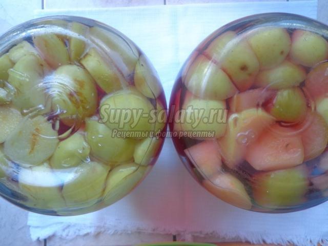 компот из вишен, яблок и смородины на зиму