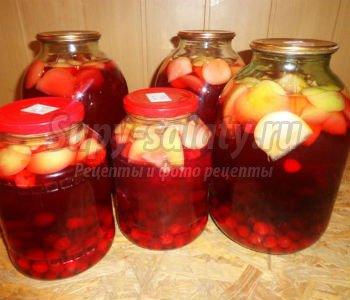 Компот из вишни смородины и яблок
