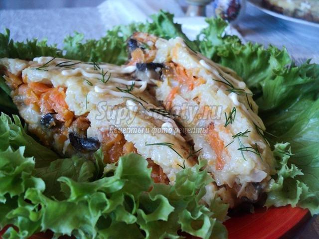 овощная запеканка из капусты, моркови и грибов в мультиварке