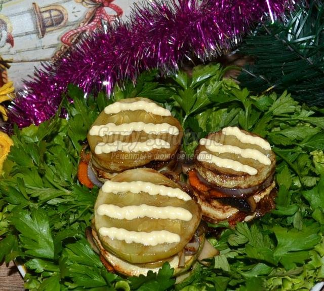 закуска из кабачков с грибами к Новому году