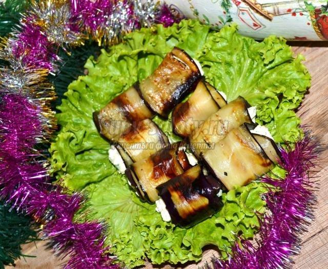 рулетики из баклажанов с чесночно-творожной начинкой