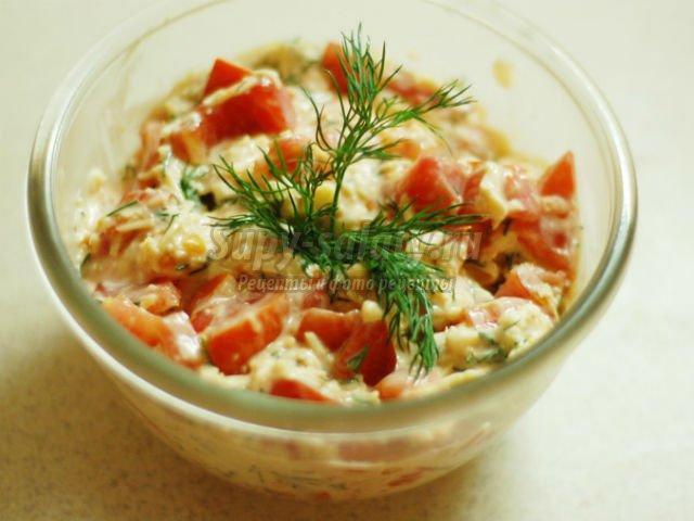 Рецепт салата с сыром и с помидорами и сыром