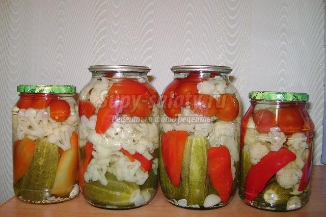 овощное ассорти с капустой на зиму рецепты с фото