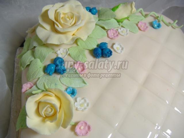 цветочный торт с мастикой. Клетка