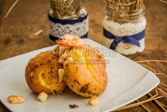 мятая картошка с креветками