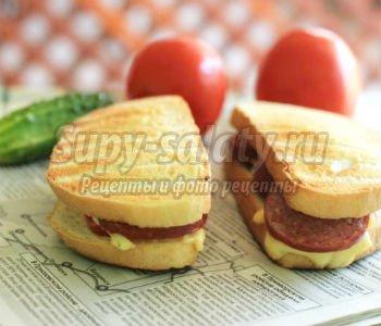 бутерброды с колбасой: лучшие рецепты с фото