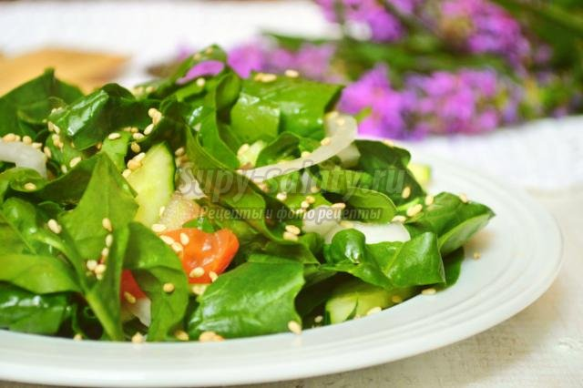 овощной салат со шпинатом и помидорами