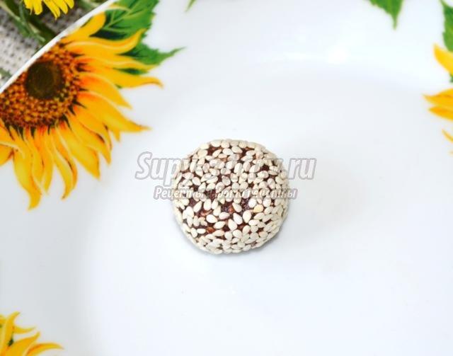 конфеты с кунжутом и какао к Новому году