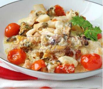 морепродукты с моцареллой по-итальянски