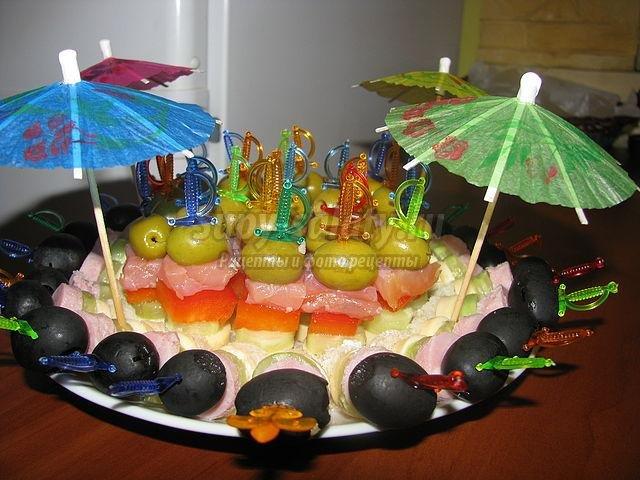 Канапе с зонтиками рецепт