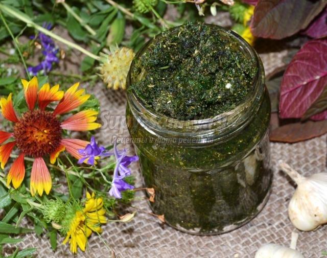 пряная паста из свежей зелени на зиму