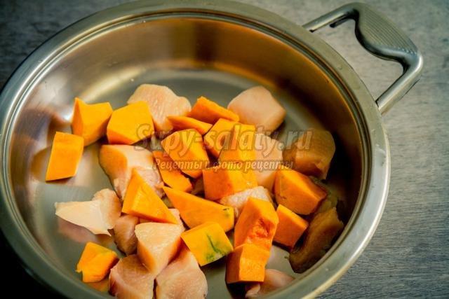 тушеная курица с тыквой в апельсиновом соке