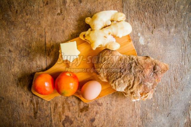 брускетта с помидорами, сыром и яйцом