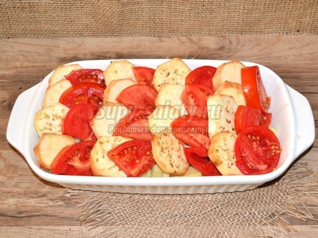 киш с картофелем, баклажанами и помидорами
