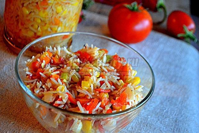 Салат из риса с помидорами на зиму рецепт с