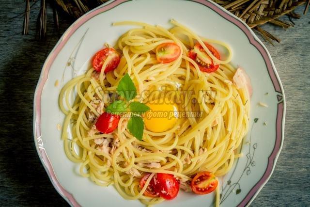 спагетти с консервированным тунцом