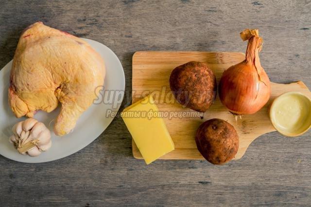 запеченная курица с картофелем и сыром к Новому году