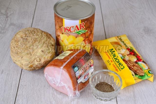 салат с копченым мясом и сельдереем. Мечта мужчины