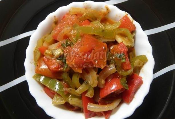Тушеный перец с помидорами: рецепт с фото