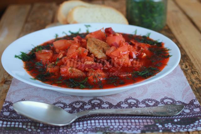 украинский красный борщ со свининой