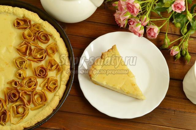 пирог с заварным кремом и розами из яблочной кожуры