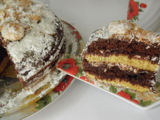 новогодний торт с карамелью и безе. Сладкий снег