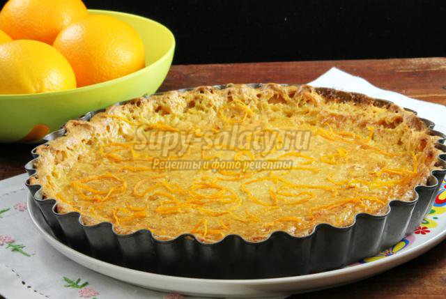 хрустящий тарт с апельсиновым кремом