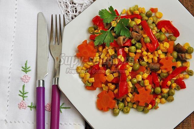 шампиньоны с овощами в мультиварке