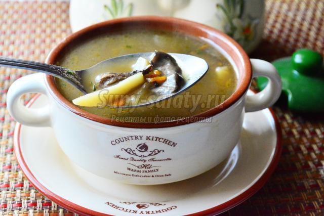 грибной суп из сушеных лесных грибов