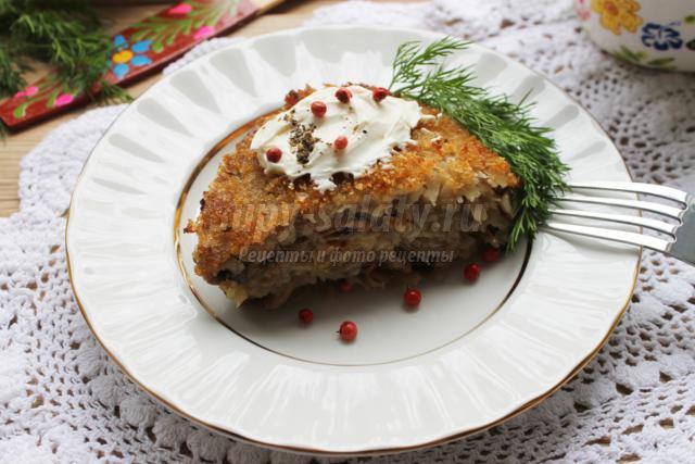 запеканка из грибов и белокочанной капусты