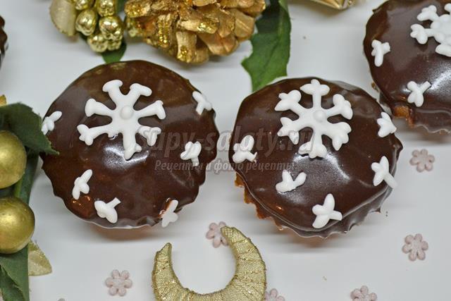 Новогодние мини капкейки с шоколадом