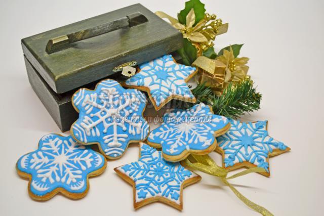 песочное печенье к Новому году. Снежинки