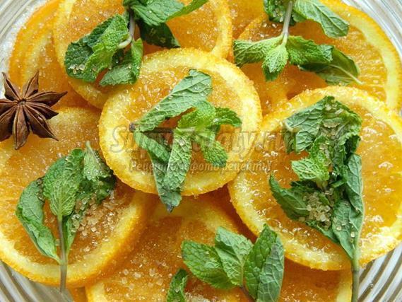 Апельсиновые дольки в коньячной карамели