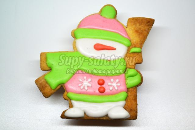 новогоднее печенье с глазурью. Снеговик с метелкой