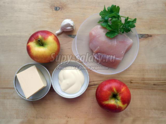 яблоки, фаршированные куриным филе