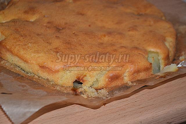 Пирог-перевертыш с грушей и дыней