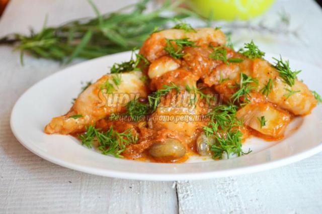 тушеная рыба с фасолью