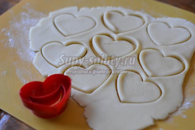 печенье ко Дню Валентина. Сердечки с карамелью