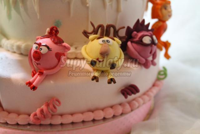 двухъярусный торт из мастики. фиксики и компания