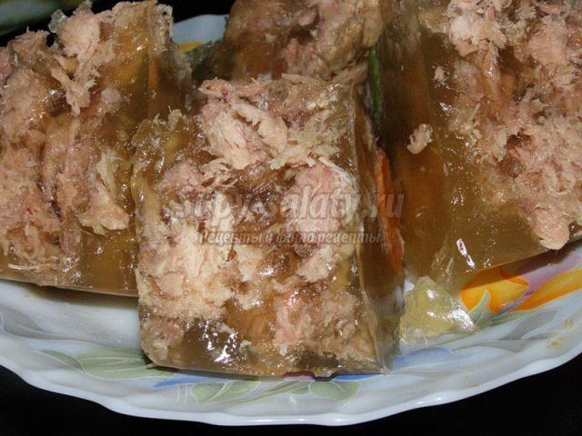 заливное из курицы: лучшие рецепты с фото